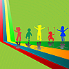 Vector clipart: silhouettes of children playing