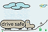 Vector clipart: drive safe illustration