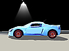 Vector clipart: sport car and street lamp