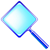 Vector clipart: square blue magnifying glass