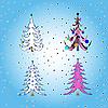 Vector clipart: stylized christmas trees