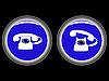 Vector clipart: telephone blue icons against black