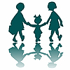 Vector clipart: three little girls going to walk