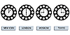 Vector clipart: time zone clocks