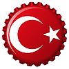 Vector clipart: turkey stylized flag on bottle cap