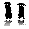 Vector clipart: two little dogs silhouettes