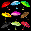Vector clipart: umbrellas collection against black