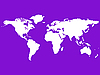 Vector clipart: white world map isolated on purple