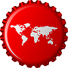 Vector clipart: white world map on red bottle cap