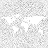 Vector clipart: white world map over grunge stripes
