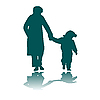 Vector clipart: woman and child silhouettes