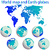 Vector clipart: world map and earth globes