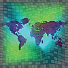 Vector clipart: world map over squared background