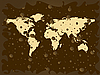 Vector clipart: world map with colored earth bubbles