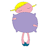 Vector clipart: young little girl with her pillow