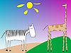 Vector clipart: drawing of zebra and giraffe