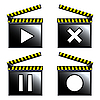 Vector clipart: movie cinema clapboard icons