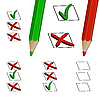 pencils and checkboxes