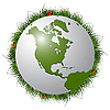 Vector clipart: earth globe, grass and ladybugs