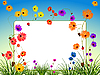 Vector clipart: empty billboard with flowers and grass