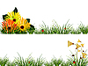 Vector clipart: headers with flowers, grass and ladybugs