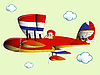 Vector clipart: kid flying on airplane