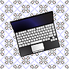 Vector clipart: laptop over flowerish texture