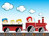 Vector clipart: train with children