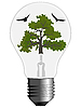 Vector clipart: tree and birds inside bulb