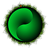 green yin yang sphere with grass