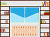 Vector clipart: bookshelf around window