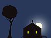 Векторный клипарт: дом в ночи