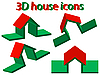 Vektor Cliparts: 3d Haus Symbole