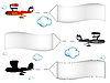 Vector clipart: cartoon airplanes with banners