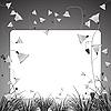 Векторный клипарт: монохроматических цветов и травы баннер