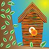 Vector clipart: birds house on tree