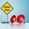 Vector clipart: dead end sign with cones and grass