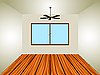 Vector clipart: empty room with window and lamp