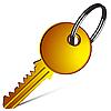 Vector clipart: golden key against white