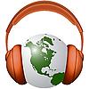 Vector clipart: world in headphones