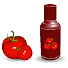 Vector clipart: ketchup bottle with tomatoes