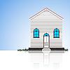Vector clipart: modern house and blue sky
