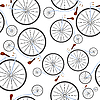 Vector clipart: old bicycles pattern
