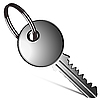 Vector clipart: silver key against white
