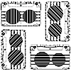 Vector clipart: striped audio tapes