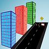 Vektor Cliparts: 3D-Gebäude und Straße