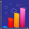 Vector clipart: business bar graph in clouds
