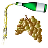Vector clipart: pouring wine and grapes