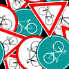 Vector clipart: bike traffic signs pattern