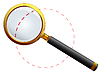 Vector clipart: golden magnifying glass